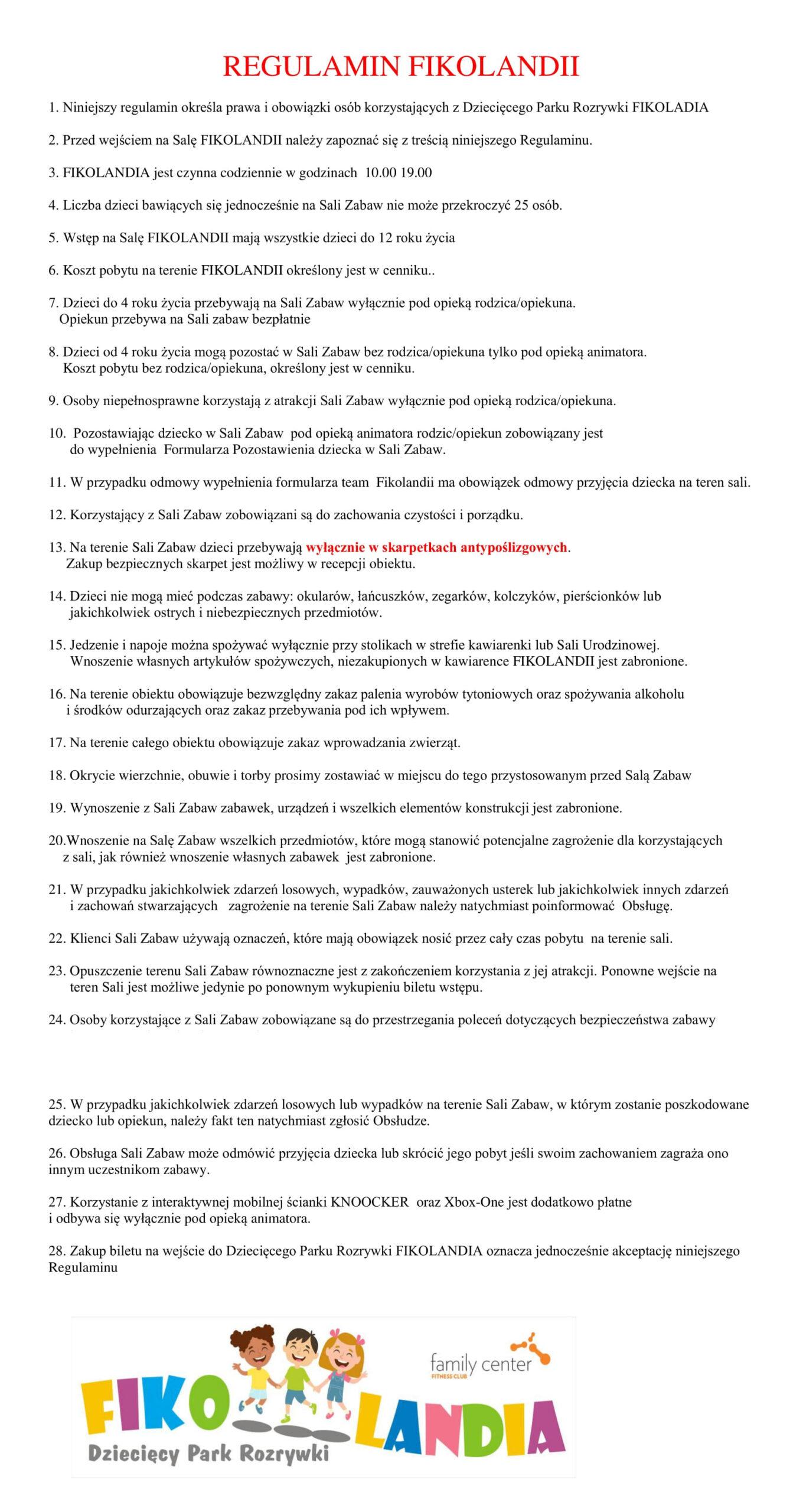 Regulamin Fikolandii nowy 17.09